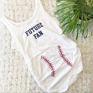 Motherhood Maternity Baseball Tank Top White Sz M